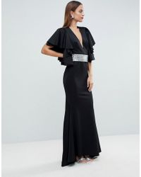 9360567ea92 ASOS - Red Carpet Deep Plunge Scuba Ruffle Sleeve Maxi Dress With  Detachable Belt - Lyst