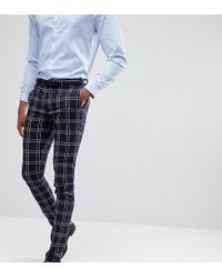 ASOS - Tall Wedding Super Skinny Suit Pants In Navy Waffle Check - Lyst