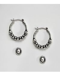 ASOS - Design Pack Of 2 Textured Stud And Hoop Earrings - Lyst