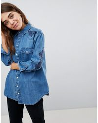 ASOS - Design Denim Western Shirt With Embroidery - Lyst