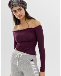 Hollister - Off The Shoulder Shirred Top - Lyst
