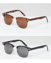 ASOS - Asos 2 Pack Classic Retro Sunglasses - Lyst