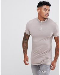 40c7a61e ASOS - Muscle Fit Zip Turtleneck T-shirt With Stretch In Beige - Lyst