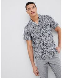 Stradivarius - Paisley Short Sleeve Shirt In Black - Lyst