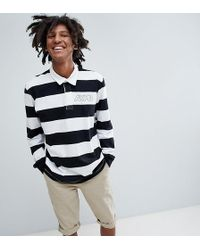 Pull&Bear - Exclusive Long Sleeved Striped Polo Top In Black And White With Logo - Lyst