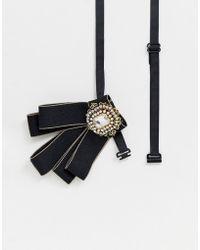 ASOS - Embellished Bow Tie In Black - Lyst