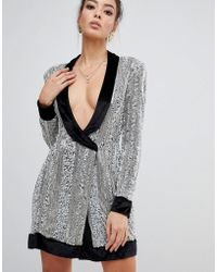 Missguided - Peace & Love Embelished Wrap Dress In Silver - Lyst