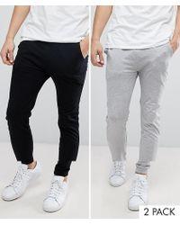 ASOS - Lightweight Skinny joggers 2 Pack Black/ Grey Marl Save - Lyst
