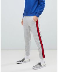 Bershka - Striped Joggers In Grey With Red Side Stripe - Lyst