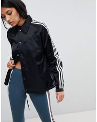 adidas Originals - Originals Three Stripe Windbreaker Jacket In Black - Lyst