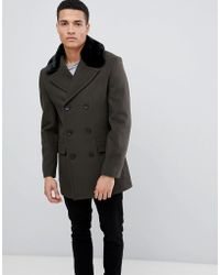 82d55073dbc47d French Connection - Double Breasted Wool Rich Pea Coat With Faux Fur Collar  - Lyst