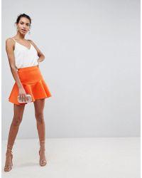 ASOS | Scuba Mini Skirt With Frill | Lyst