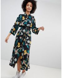 Bershka - Floral Button Front Drouser - Lyst