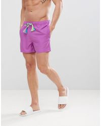 ASOS - Swim Shorts In Purple In Short Length With Rainbow Drawcord - Lyst