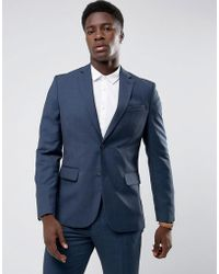 Mango - Man Slim Fit Check Suit Jacket In Navy - Lyst