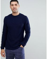 ASOS - Midweight Textured Jumper In Navy - Lyst
