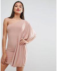 1669d60ef7 ASOS - Asos Slinky One Shoulder Kimono Mini Dress - Lyst