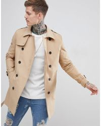 ASOS DESIGN - Shower Resistant Double Breasted Trench In Stone - Lyst