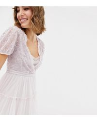 Needle & Thread - Embroidered Tulle Midi Dress With Cap Sleeve In Lavender - Lyst