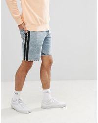 ASOS - Denim Shorts In Slim Light Wash Blue With Black Side Stripe - Lyst