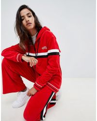 Criminal Damage - Hooded Velour Track Top With Stripe - Lyst