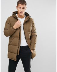 Esprit - Long Down Coat In Khaki - Lyst