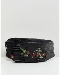 River Island - Bum Bags With Embroidery In Black - Lyst
