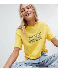 Daisy Street - Boyfriend T-shirt With Sunshine Print - Lyst