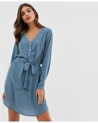 Vila - Spotty Collarless Shirt Dress - Lyst