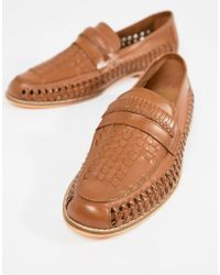 Frank Wright - Woven Loafers In Tan Leather - Lyst
