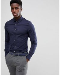 ASOS - Skinny Formal Work Shirt With Dobbie Texture - Lyst