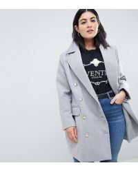 016b7a0e0a9 Boohoo - Exclusive Plus Double Breasted Coat In Grey - Lyst