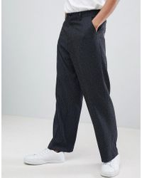 ASOS DESIGN - Wide Leg Smart Trousers With Ditsy Pattern - Lyst