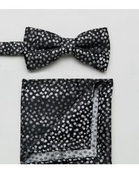 New Look - Spotty Bow Tie And Pocket Square In Black - Lyst