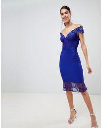 Lipsy - Lace Bardot Flippy Hem Midi Dress - Lyst