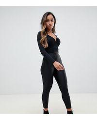 bb367487a6ab4 ASOS High Waist Shimmer Disco Leggings in Black - Lyst