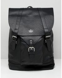 ASOS DESIGN - Leather Backpack In Black With Front Pocket Detail - Lyst