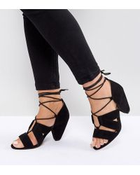 196ef1191fe8 ASOS - Asos Tali Wide Fit Lace Up Heeled Sandals - Lyst