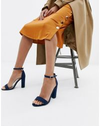 Glamorous - Barely There Navy Block Heeled Sandals - Lyst