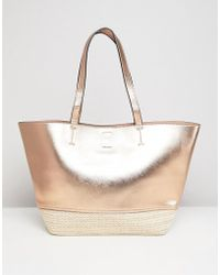 New Look - Rose Gold & Straw Beach Bag - Lyst