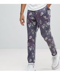 ASOS - Tall Slim Cropped Trousers In Vintage Washed Out Leaf Print - Lyst