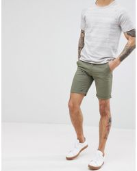Solid - Slim Fit Chino Short In Khaki - Lyst