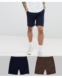 ASOS - 2 Pack Slim Chino Shorts In Navy & Brown Save - Lyst