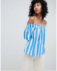 Ichi - Stripe Cotton Bardot Top - Lyst