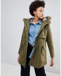 Parka London - Lara Essential Parka Coat With Faux Fur Trim Hood - Lyst