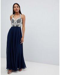 ASOS - Pearl Basque Embellished Crop Top Maxi Dress - Lyst