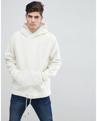 Mango - Man Faux Shearling Hoodie In Off White - Lyst