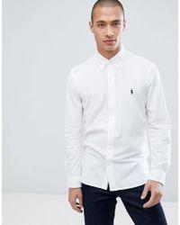 Polo Ralph Lauren - Slim Fit Pique Shirt Player Logo Button-down In White - Lyst