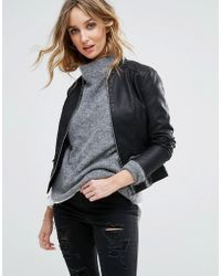 Vila - Leather Look Jacket - Lyst