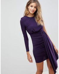 ASOS - Asos Open Back Shoulder Pad Slinky Mini Dress - Lyst